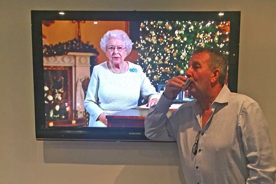 Chris Kirkham proposing a Dalvey Cup Club tost to absent friends during the Queen's Christmas Day speech