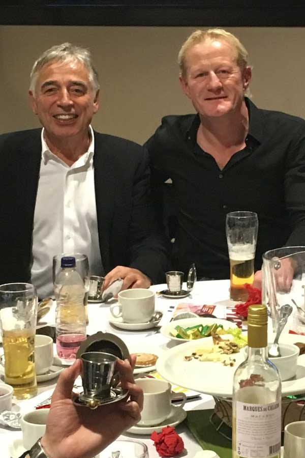 John Camilleri with Colin Hendry - Scottish professional football coach & former Blackburn Rovers player with Dalvey Cup Club founder John Camilleri