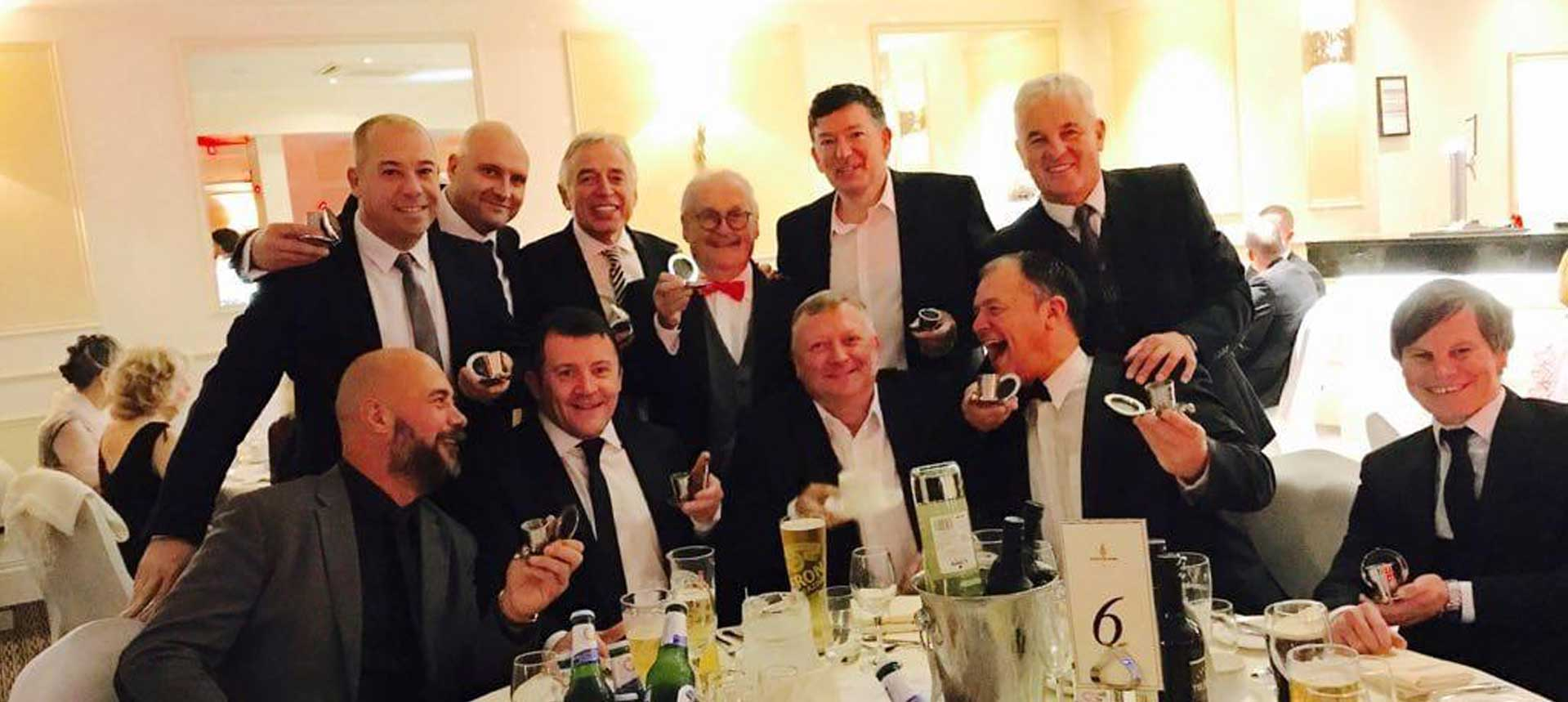 John Camilleri, Bobby Ball & Dalvey Cup Club members propose a toast to absent friends