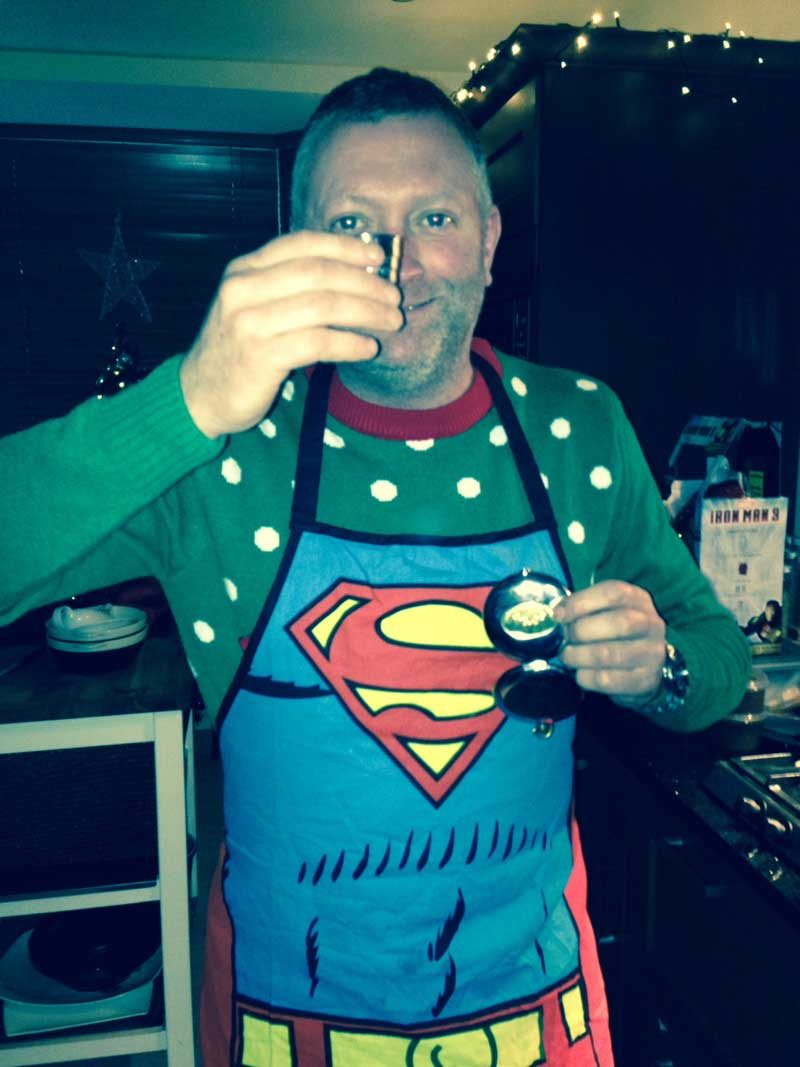 Dalvey Cup Club member Stuart 'Superman'  Gillibrand proposing a toast to absent friends on Christmas Day